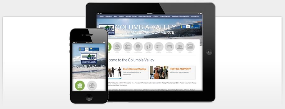 Columbia Valley Chamber of Commerce is Designed for Mobile Devices