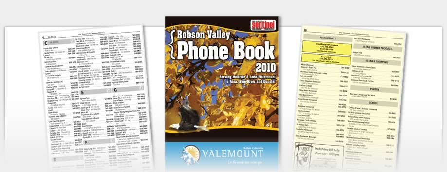 Phone Book Design - Robson Valley Phonebook 2010