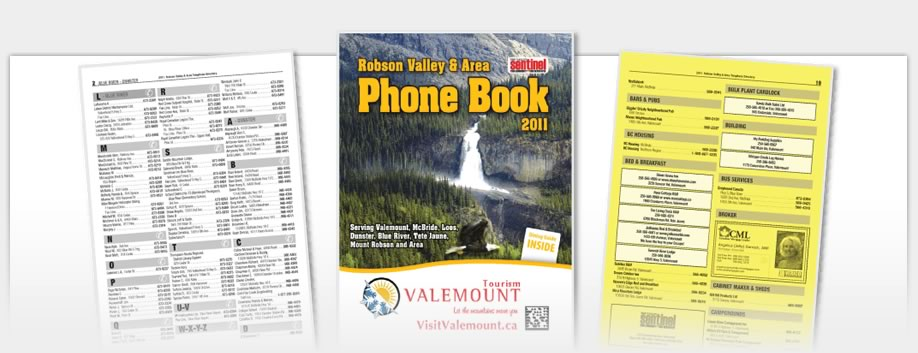 Phone Book Design - Robson Valley Phonebook 2011