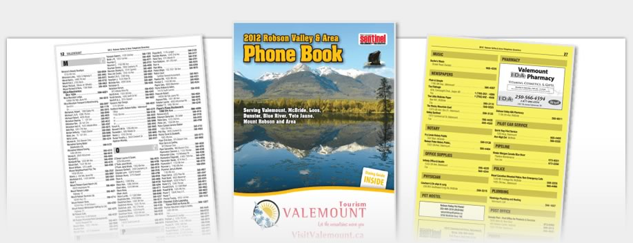Phone Book Design - Robson Valley Phonebook 2012