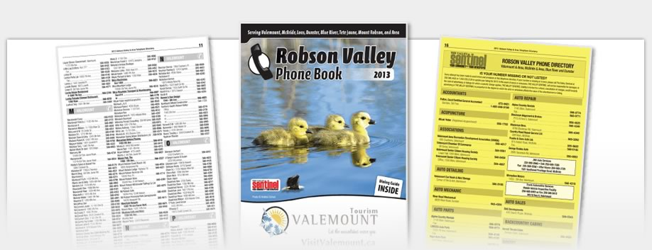 Phone Book Design - Robson Valley Phonebook 2013